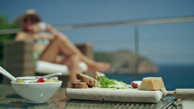 summer coffee break on a terrace - tapas stock videos & royalty-free footage