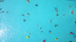 summer day famous waterpark outdoor swimming pool aerial down view panorama 4k