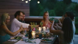 A summer dinner party on the patio
