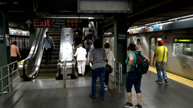 Summer evening rush hour commuters on the number 7 subway platform in Times Square / Connections to trains 1 3 A E N Q C R trains and the Port...