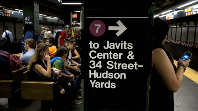 summer evening rush hour commuters on the number 7 subway platform in times square / connections to trains 1 3 a, e, n, q, c, r trains and the port... - number 7 stock videos & royalty-free footage