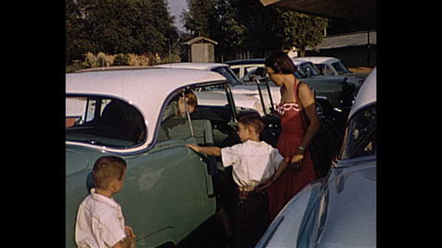 1957 Summer - family arrives to restaurant in their classic car