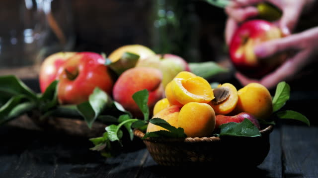 summer fruit on the wooden table - apricot stock videos & royalty-free footage
