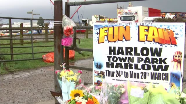 Summer Grant's death a result of failure to properly secure bouncy castle T28031624 / Essex Harlow Town Park EXT Floral tributes on gate next to sign...