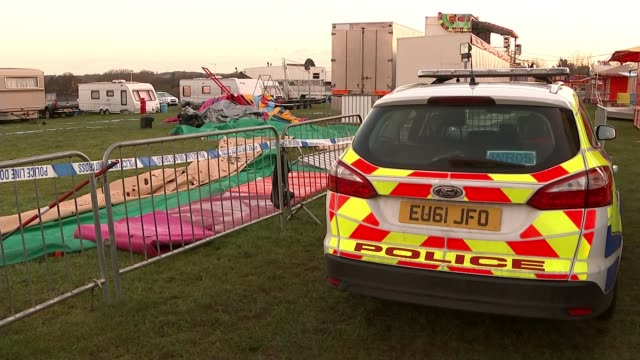 Summer Grant's death a result of failure to properly secure bouncy castle T27031629 / Police car parked near barriers Blue police cordon tape