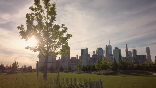 vídeos de stock e filmes b-roll de summer in the city park scene with manhattan skyline - public park
