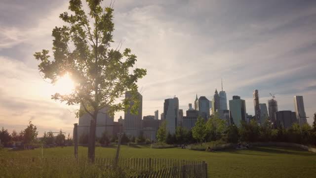 vídeos y material grabado en eventos de stock de summer in the city park scene with manhattan skyline - parque