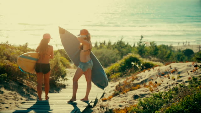 Summer is here: surfer girls at sea