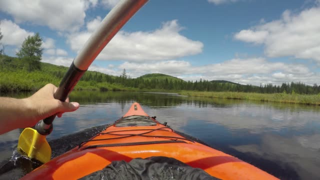summer kayak river nature pov peaceful - eco tourism stock videos & royalty-free footage