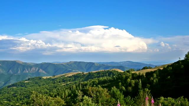 Landschap van de zomer in de bergen en licht blauwe hemel