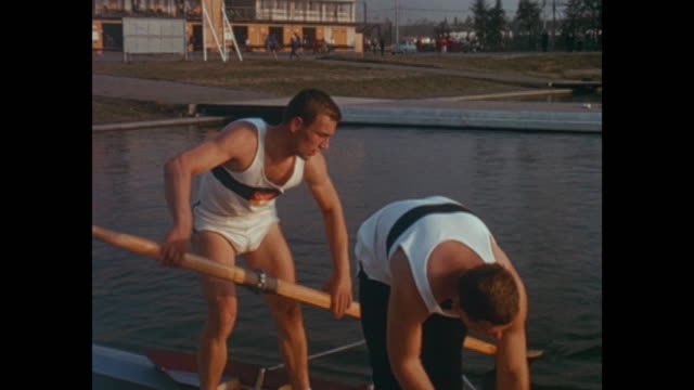 Summer Olympic Games Tokio 1964 filmed by officials training of the rowing athletes from different countries like Italy Switzerland Nederlands...