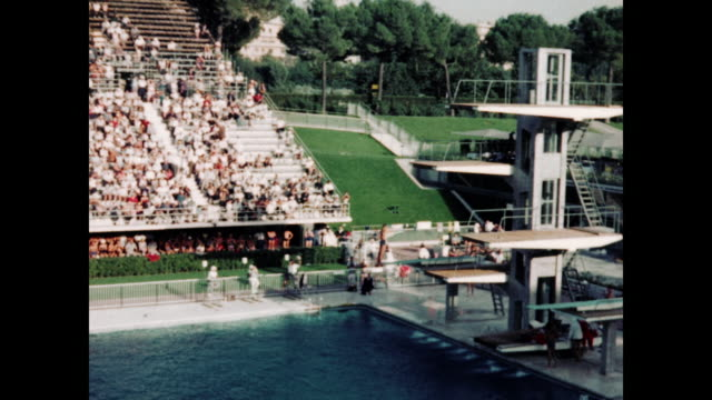 1960 summer olympic male divers competition - rome, italy home movie - diving platform stock videos and b-roll footage