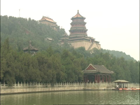 summer palace, rising above forest, low angle view from river, beijing, china - summer palace beijing stock videos & royalty-free footage