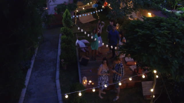summer party outdoors - giardino domestico video stock e b–roll