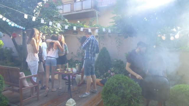 summer party outdoors - barbecue stock videos & royalty-free footage