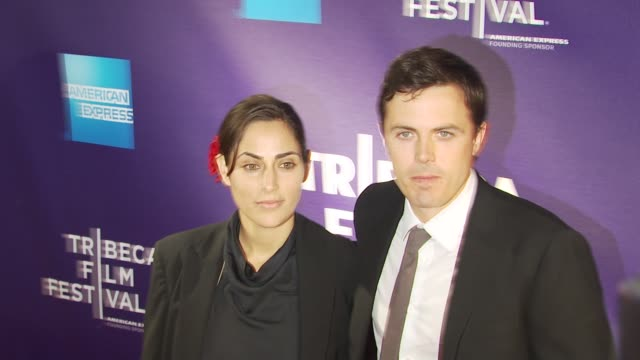 summer phoenix and casey affleck at the premiere of 'the killer inside me' 9th annual tribeca film festival at new york ny - neckwear stock videos and b-roll footage