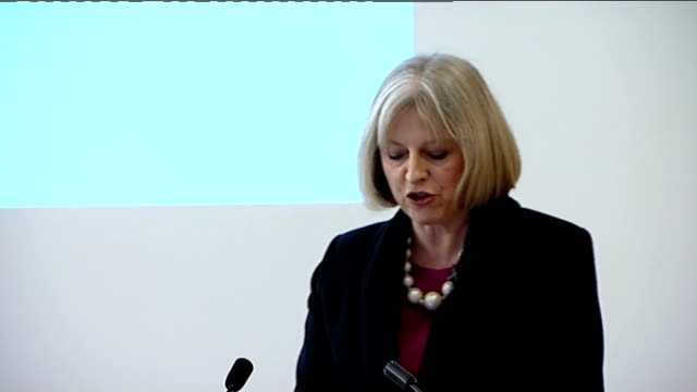 stockvideo's en b-roll-footage met theresa may speech; england: london: lse : int **beware flash photography** theresa may mp along to podium and speech sot - last summer we saw scenes... - home economics