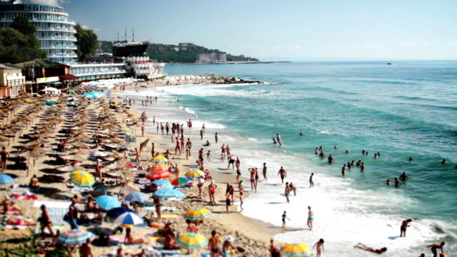 summer sea beach resort - bulgaria stock videos & royalty-free footage