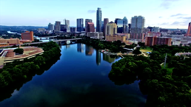 Zomer Sunrise Austin Texas hoofdstad Skyline stadsgezicht