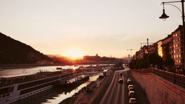 summer sunset in budapest, near liberty bridge - liberty bridge budapest stock videos & royalty-free footage