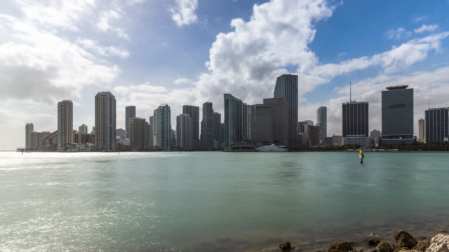 summer time biscayne bay waterfront time lapse of miami downtown, florida. usa - biscayne bay stock-videos und b-roll-filmmaterial