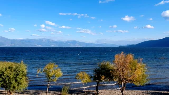 vídeos y material grabado en eventos de stock de verano lago y verde árbol, nubes blancas sobre cielo azul - buena condición