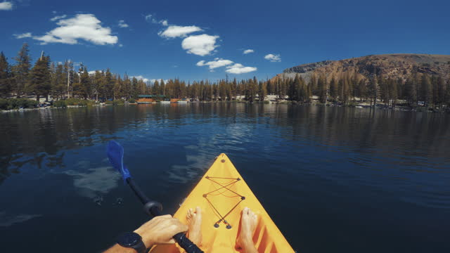 summer travel in the southwest usa: pov kayaking in lake recreational area - canyon lake stock videos & royalty-free footage
