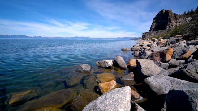 Summer Travel Vacation Clear Waters of Lake Tahoe , California Spring time morning sunshine