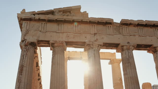 summer vacations in greece: athens and the parthenon - temple building stock videos & royalty-free footage
