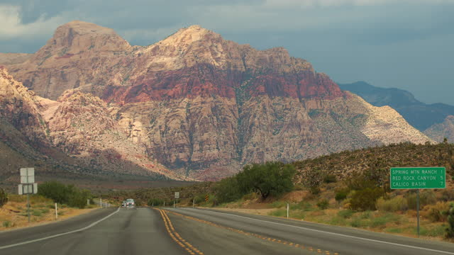 summer vacations in nevada: wild roads near red rock canyon - nevada stock videos & royalty-free footage