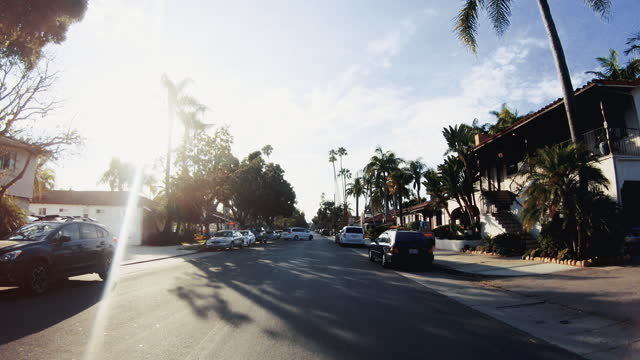 summer vacations in usa: driving the roads of santa barbara, california - santa barbara california stock videos & royalty-free footage