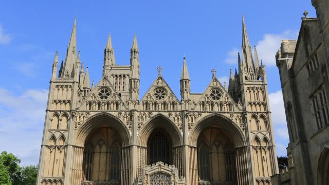 Summer view of Peterborough Cathedral, Cambridgeshire, England.