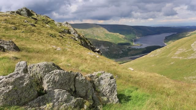 summer view over haweswater lake from harter fell, lake district national park, cumbria, england, uk - english lake district stock videos and b-roll footage