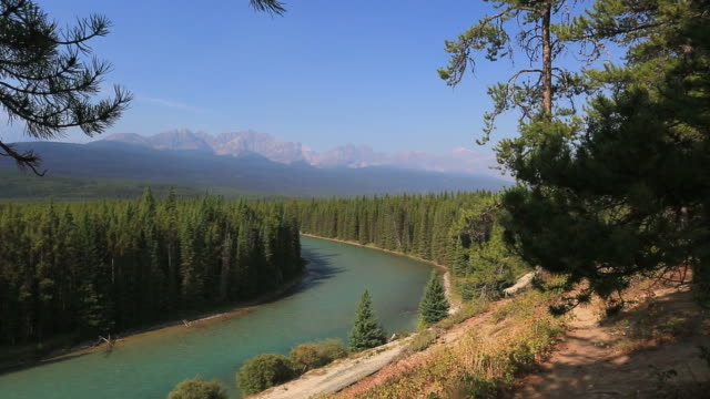Summer view over the Bow river and the Canadian Rockies mountains, Banff National Park, Alberta, Canada