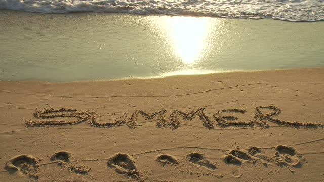 cu summer word written in sand / cap de l'homy, aquitaine, france - aquitaine stock videos and b-roll footage