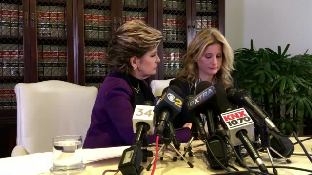 summer zervos a former contestant on the tv show the apprentice who previously accused donald trump of sexual misconduct speaks during a press... - defendant stock videos and b-roll footage