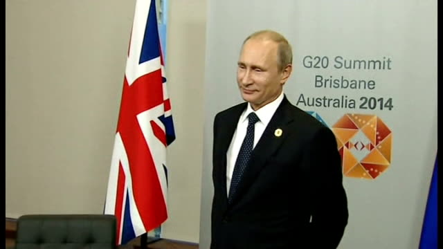 world leaders warn putin on ukraine int vladimir putin into room for bilateral meeting and poses for photocall david cameron into room and shakes... - photo call stock videos & royalty-free footage