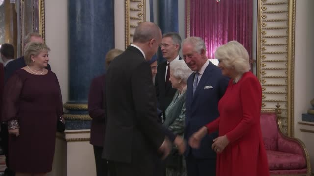 buckingham palace nato reception england london buckingham palace int queen elizabeth ii prince charles prince of wales camilla duchess of cornwall... - chancellor of germany stock videos & royalty-free footage