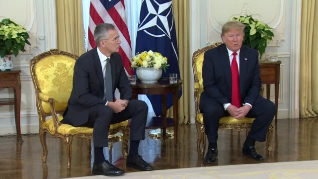 donald trump and jens stoltenberg press conference england london regent's park winfield house int donald trump and jens stoltenberg press conference... - mull stock videos & royalty-free footage