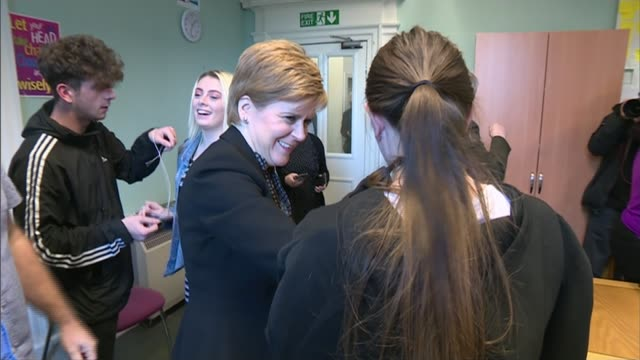 donald trump claims the us have no interest in including the nhs in a future trade deal; scotland: int nicola sturgeon performing team building... - nicola sturgeon stock videos & royalty-free footage