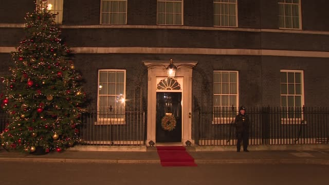 downing street reception arrivals england london downing street ext / night **beware general view of number 10 door with christmas tree and wreath /... - リース点の映像素材/bロール
