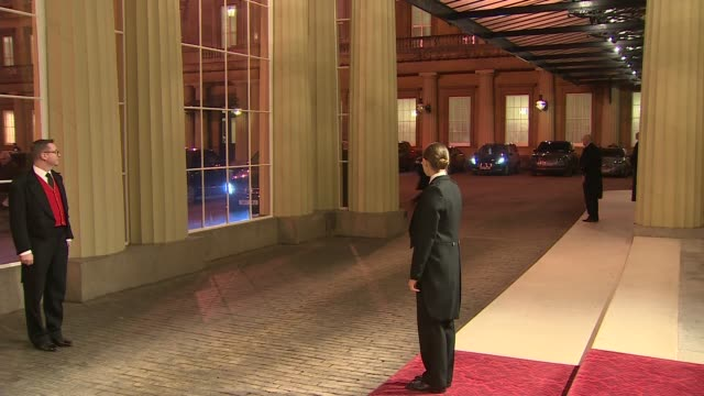 members of nato arrive for buckingham palace reception england london buckingham palace ext **beware angela merkel arriving - chancellor of germany stock videos & royalty-free footage