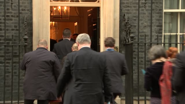 nato leaders arrive at downing street england london downing street ext **beware number 10 downing street with door decorated with christmas wreath... - chancellor of germany stock videos & royalty-free footage