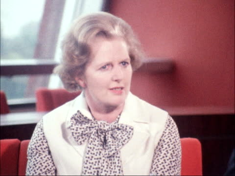 strasbourg press pan margaret thatcher mp and officials photocall / ms thatcher chats pan down line of delegates / int lms thatcher speaking at... - margaret thatcher stock videos & royalty-free footage