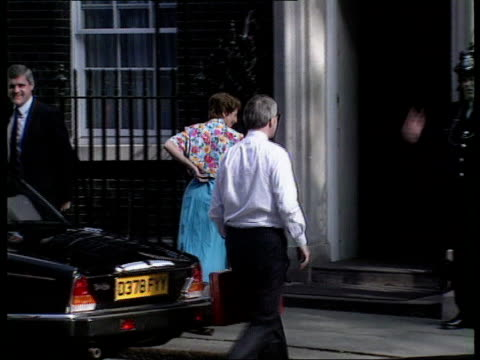 Arrivals London Downing Street John Major MP out of car with wife Norma PAN LR into No 10