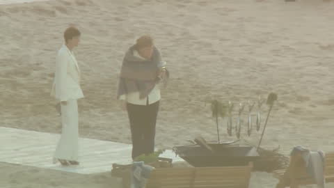 summit beach bbq for leaders and families, carbis bay, includes angela merkel looking at fish - husband stock videos & royalty-free footage