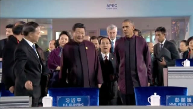 apec summit begins in beijing xi jinping and obama along various of performances light shows and fireworks at opening ceremony - バラク・オバマ点の映像素材/bロール