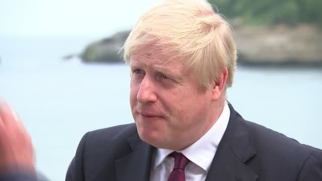 boris johnson interview france biarritz ext boris johnson mp interview sot [re pork pies] opportunity to do trade deal with us / nhs not on the table... - contemplation stock videos & royalty-free footage