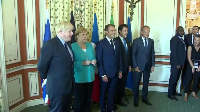 brexit donald tusk says no to nodeal france nouvelleaquitaine biarritz photography *** boris johnson angela merkel emmanuel macron justin trudeau and... - angela merkel stock videos & royalty-free footage