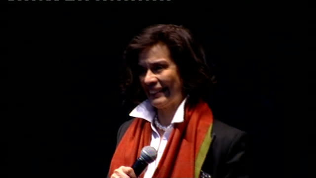 first protests; tony robinson introducing bianca jagger sot bianca jagger addressing rally from stage sot - time has come for g20 leaders to deliver... - human stage stock videos & royalty-free footage
